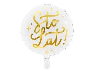 Balon foliowy Sto lat! - 35 cm - biały