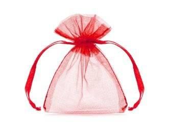 20 x Woreczek z organzy 10 cm - Czerwony - na prezent