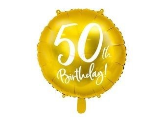 Balon foliowy 50th Birthday - 50 urodziny - złoty - 45 cm