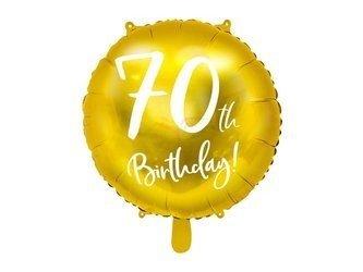 Balon foliowy 70th Birthday - 70 urodziny - złoty - 45 cm
