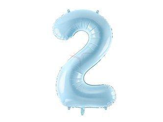 """Balon foliowy Cyfra """"2"""" dwa - 86 cm - jasny niebieski"""