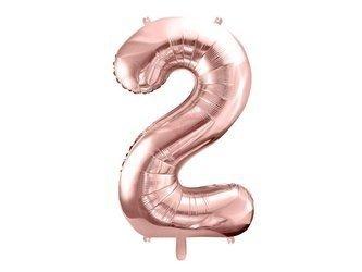 """Balon foliowy Cyfra """"2"""" dwa - 86 cm - różowe złoto"""