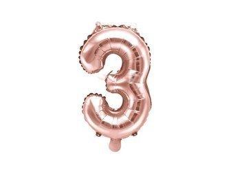 """Balon foliowy Cyfra """"3"""" trzy - 35 cm - różowe złoto"""