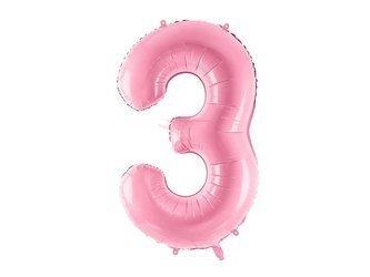 """Balon foliowy Cyfra """"3"""" trzy - 86 cm - różowy"""