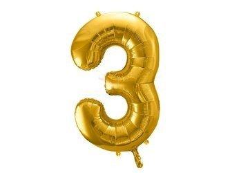 """Balon foliowy Cyfra """"3"""" trzy - 86 cm - złoty"""