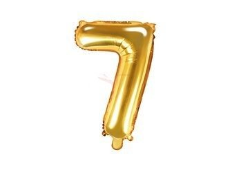 """Balon foliowy Cyfra """"7"""" siedem - 35 cm - złoty"""