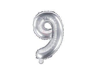 """Balon foliowy Cyfra """"9"""" dziewięć - 35 cm - srebrny"""
