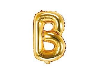 """Balon foliowy Litera """"B"""" - 35 cm - złoty"""