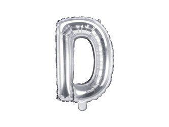 "Balon foliowy Litera ""D"" - 35 cm - srebrny"