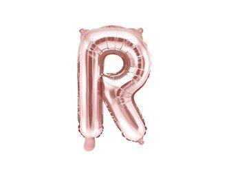 """Balon foliowy Litera """"R"""" - 35 cm - różowe złoto"""