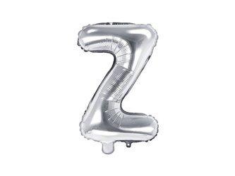 """Balon foliowy Litera """"Z"""" - 35 cm - srebrny"""