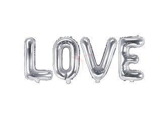 Balon foliowy Love - 140x35 cm - srebrny