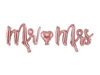 Balon foliowy Mr Mrs - 69 x 125 cm - różowe złoto