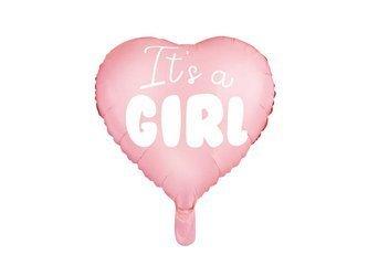 Balon foliowy Serce - It's a girl - 45 cm - jasny różowy