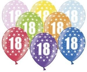 Balony 30 cm - 18th Birthday - 18 urodziny - Metallic Mix - 6 szt.