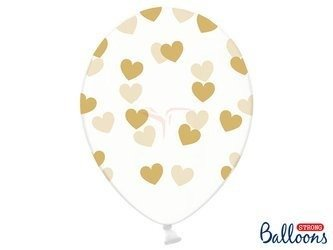 Balony 30 cm - Złote Serduszka - Crystal Clear - 50 szt.