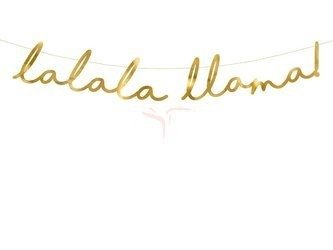 Baner Lama - Lalala Llama złoty - 12.5 x 82 cm