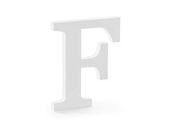 Drewniana litera F - 16 x 20 cm - biały