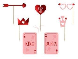 Gadżety do zdjęć - King, Queen, Kiss Me - MIX - 7 szt.