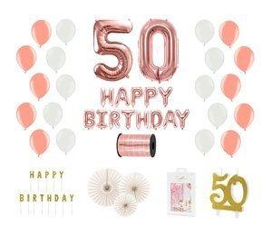 Kompletny zestaw na 50 urodziny - różowe złoto z białymi akcentami