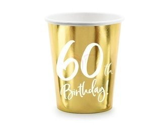 Kubeczki 60th Birthday - 60 urodziny - złoty - 220ml - 6 szt.