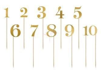 Numery na stół - złoty - 25,5-26,5cm - 11 szt.