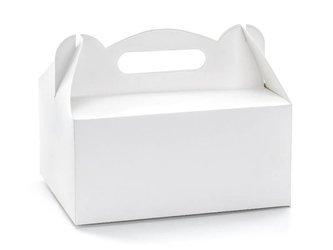 Ozdobne pudełka na ciasto - 19 x 14 x 9 cm - białe - 10 szt.