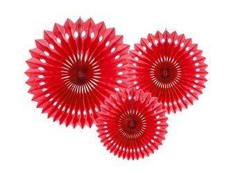 Rozety dekoracyjne - Czerwone - 20-30 cm - 3 szt.