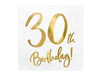 Serwetki 30th Birthday - 30 urodziny - białe - 33x33cm - 20 szt.
