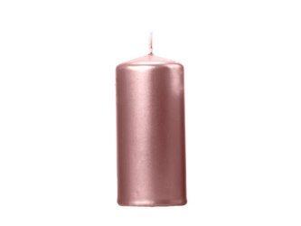 Świeca klubowa metalizowana - 12 x 6 cm - różowe złoto