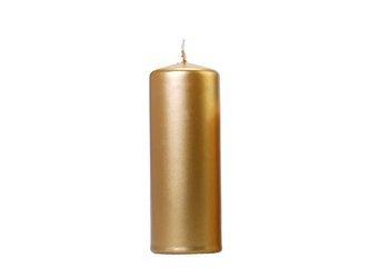 Świeca klubowa metalizowana - 15 x 6 cm - złota - 6 szt.