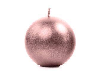 Świeca metalizowana Kula - 6 cm - różowe złoto - 10 szt.