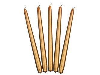 Świeca stożkowa metalizowana - 29 cm - złota - 10 szt.