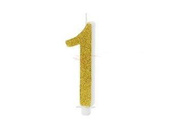 Świeczka urodzinowa Cyferka 1 - jeden - złota - 10 cm