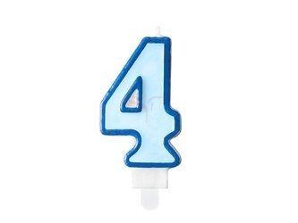 Świeczka urodzinowa Cyferka 4 - cztery - niebieska - 7 cm