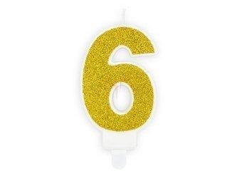 Świeczka urodzinowa Cyferka 6 - sześć - złota - 7 cm