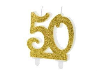 Świeczka urodzinowa liczba 50 - złota - 7.5 cm