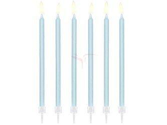 Świeczki urodzinowe gładkie - jasny niebieski - 14 cm - 12 szt.