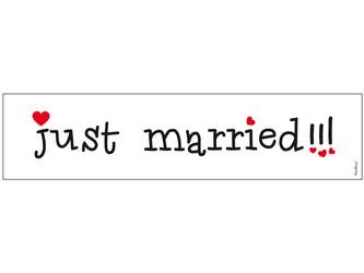 Tablica rejestracyjna - Just Married!!! - 50 x 11,5 cm