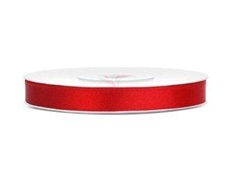 Tasiemka satynowa czerwona - 6mm/25m