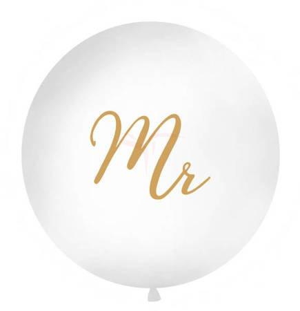 Balon 1m - Mr - biały - złoty napis