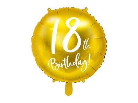 Balon foliowy 18th Birthday - 18 urodziny - złoty - 45 cm