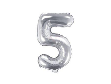 """Balon foliowy Cyfra """"5"""" pięć - 35 cm - srebrny"""