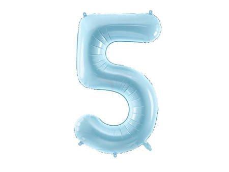 """Balon foliowy Cyfra """"5"""" pięć - 86 cm - jasny niebieski"""