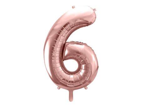"""Balon foliowy Cyfra """"6"""" sześć - 86 cm - różowe złoto"""