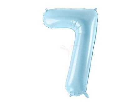 """Balon foliowy Cyfra """"7"""" siedem - 86 cm - jasny niebieski"""