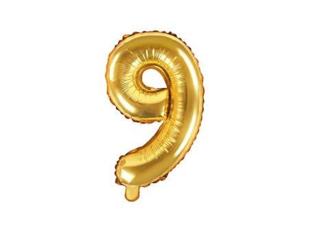 """Balon foliowy Cyfra """"9"""" dziewięć - 35 cm - złoty"""