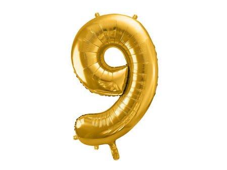"""Balon foliowy Cyfra """"9"""" dziewięć - 86 cm - złoty"""