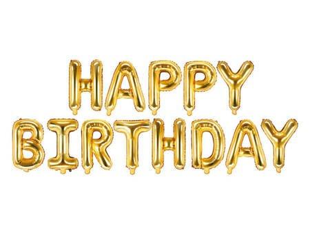 Balon foliowy Happy Birthday - 340 x 35 cm - złoty