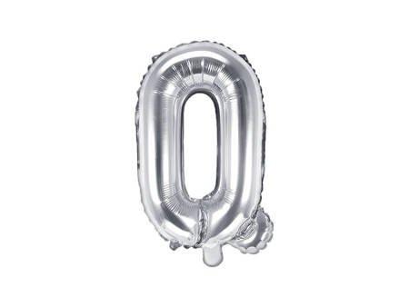 """Balon foliowy Litera """"Q"""" - 35 cm - srebrny"""